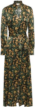 Seren London Olga Belted Floral-print Silk-satin Midi Dress