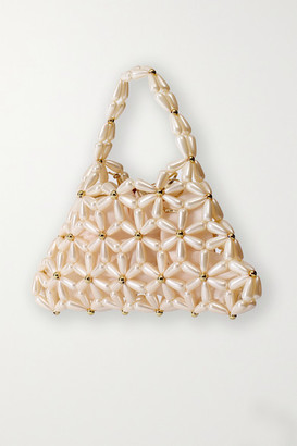 VANINA Daisy Faux Pearl And Gold-tone Tote - Ivory