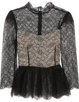 Vilshenko Magda Chantilly Lace Peplum Top - Black