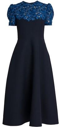 Valentino Floral Yoke Midi Dress