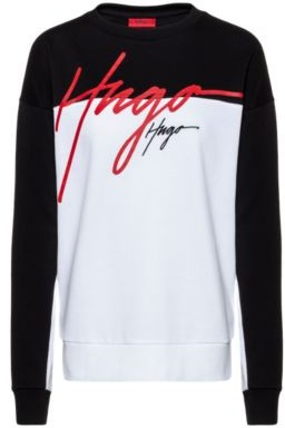 HUGO BOSS Relaxed Fit Sweatshirt In French Terry With Handwritten Logos - Patterned