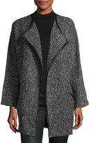 Neiman Marcus Open-Front Tweed Coat, Gray
