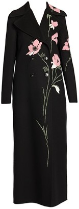 Valentino Poppy Floral-Embroidered Virgin Wool & Cashmere Coat