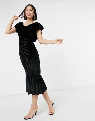 ELVI ruched velvet bodycon dress in black