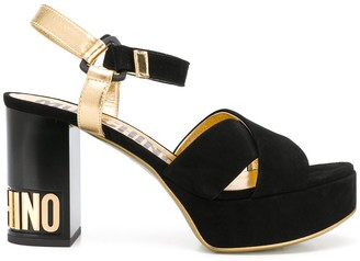 Moschino Logo Heel Sandals