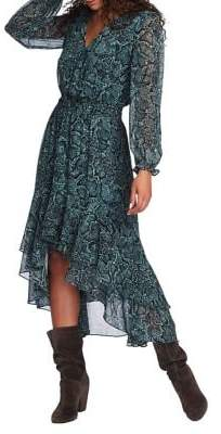 1 STATE 1.State Snakeskin-Print High-Low Dress