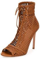 Gianvito Rossi Marnie Woven Leather 105mm Bootie, Almond