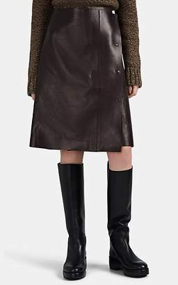 The Row Women's Narai Leather Wrap Midi-Skirt - Dk. brown