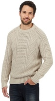 Mantaray Big And Tall Cream Cable Knit Jumper With Wool