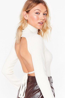 Nasty Gal Womens Knit's All About Me Petite Tie Sweater - Cream