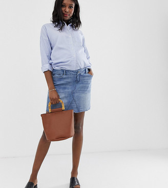 Bandia Maternity denim mini skirt with removeable band