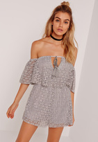 Missguided Lace Frill Bardot Playsuit Grey