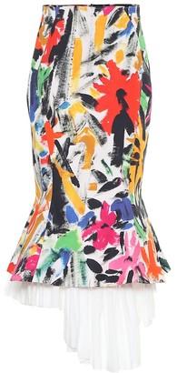 Marni Printed cotton asymmetric midi skirt