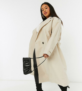 ASOS DESIGN Curve trench coat with detachable leather look hood in stone