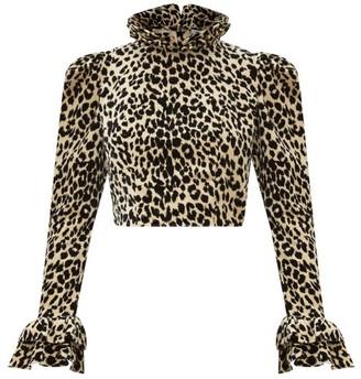Batsheva Amy Leopard-print Velvet Blouse - Leopard