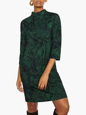 Jigsaw Layered Leaf Jersey Dress, Emerald