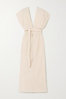 Savannah Morrow The Label - The Kamala Belted Crinkled Organic Cotton-gauze Midi Dress - Cream
