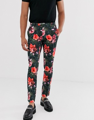Twisted Tailor skinny pants with tropical floral print in green
