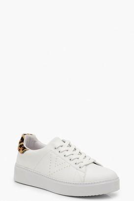 boohoo Leopard Back Platform Sneakers