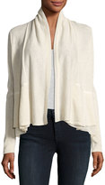 Neiman Marcus Chiffon-Panel Open-Front Cardigan, Beige