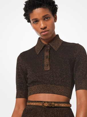 Michael Kors Metallic Knit Cropped Polo Shirt