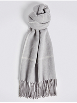 M&S Collection Women's Wool Blend Checked Scarf