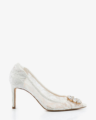 Le Château Brooch Embellished Lace Pointy Toe Pump