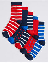 Marks and Spencer 5 Pairs of FreshfeetTM Nautical Socks (1-14 Years)