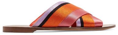 Diane von Furstenberg Bailie Satin Slides - Orange