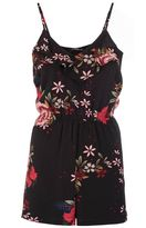 Quiz Black and Red Floral Print Frill Playsuit