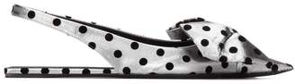 Balenciaga Polka Dot Slingback Bow Flats