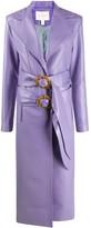 MATÉRIEL double-buckle faux-leather coat