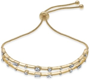 INC International Concepts Inc Gold-Tone Crystal Double-Row Slider Bracelet, Created for Macy's