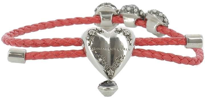 Alexander McQueen Red Leather Bracelet