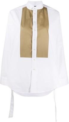 Jejia Slit-Sleeved Contrast Bib Shirt