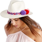 Sole Society Woven Straw Hat w/ Poms