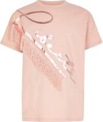River Island Girls Pink 'Liberte' fringe T-shirt