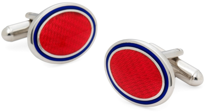 Brooks Brothers Sterling and Vitreous Enamel Oval Cuff Links