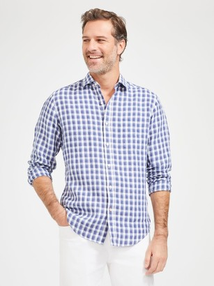 J.Mclaughlin Gramercy Classic Fit Linen Shirt in Check