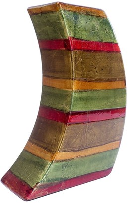 HomeRoots Contemporary Green Red Brown Copper Ceramic Lacquer Stripe Leaning Vase