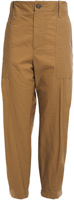 Brunello Cucinelli Cropped Crinkled Cotton-blend Tapered Pants