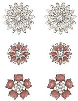 Charlotte Russe Faceted Stone & Rhinestone Flower Earrings - 3 Pack