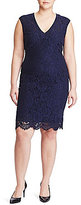 Lauren Ralph Lauren Plus Lace V-Neck Dress