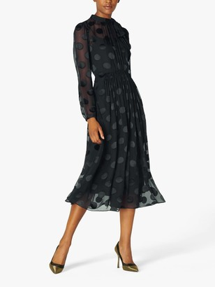 LK Bennett Gish Spot Dress, Black