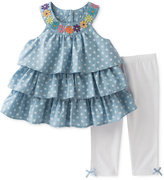 Kids Headquarters 2-Pc. Tiered Chambray Tunic & Capri Leggings Set, Baby Girls (0-24 months)