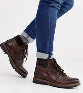 Base London Wide Fit Fawn hiker boots in burnished tan