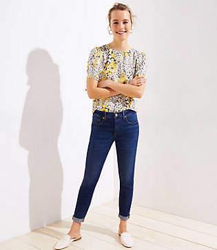 LOFT Petite Modern Soft Slim Pocket Skinny Crop Jeans in Authentic Dark Indigo Wash