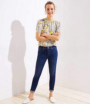 LOFT Petite Soft Slim Pocket Skinny Crop Jeans in Authentic Dark Indigo Wash