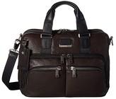Tumi Alpha Bravo Albany Slim Center Brief (Dark Brown) Briefcase Bags
