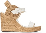 Jimmy Choo DELPHI 100 Latte Vachetta Leather Wedge Sandals with Braided Rope